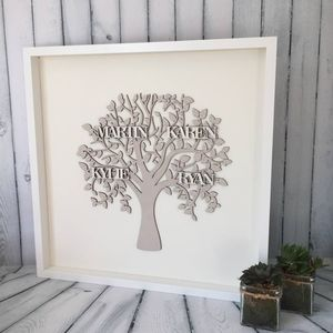 Personalised Design Your Own Framed Wooden Family Tree - mixed media & collage