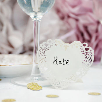 Ivory Heart Laser Cut Place Cards