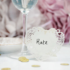 Ivory Heart Laser Cut Place Cards - decoration