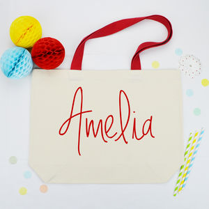 Personalised Name Canvas Shopping Bag