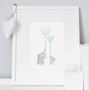 Personalised Elephant And Rabbit Bestfriends Print