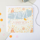 'Yay! A Baby Boy' New Baby Card
