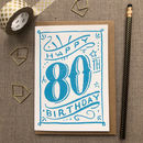 80th Birthday 80th Card Blue Chalk