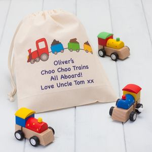 Set Of Three Wooden Trains With Personalised Bag