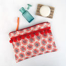 Red Dandelion Pom Pom Wash Bag