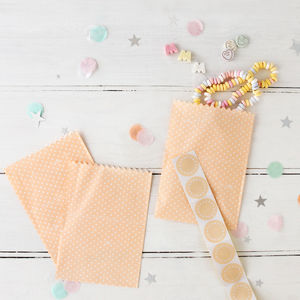 Peach Spotty Treat Bags And Stickers - little extras