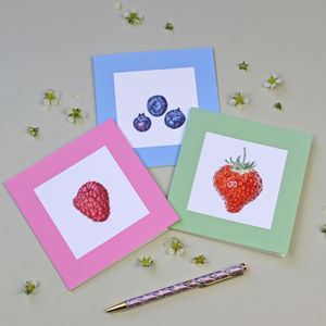 Pack Of Six Strawberry, Raspberry And Blueberry Cards - notelets & writing paper