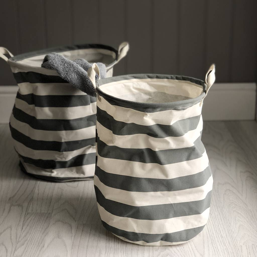 Grey Striped Storage Basket