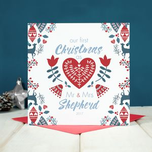 Personalised First Christmas As Mr And Mrs Card - wedding, engagement & anniversary cards