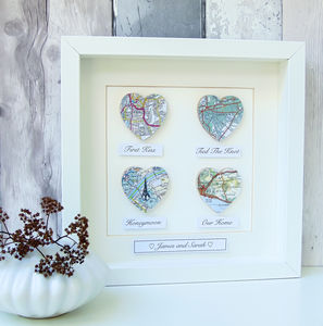Personalised Map Hearts Story Picture | Wedding Gift - mixed media & collage