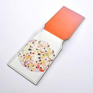 Nebula Print Leather Card Holder - women's accessories