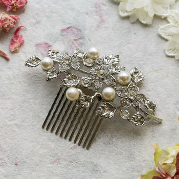 Tamsin Crystal Leaf And Pearl Hair Comb