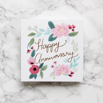 'Happy Anniversary' Gold Foil Floral Card