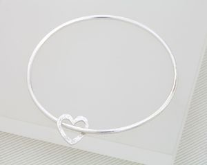 Silver Bangle With Heart Charm