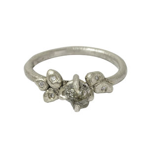 Claw Set Rough Diamond Ring In White Gold - engagement rings