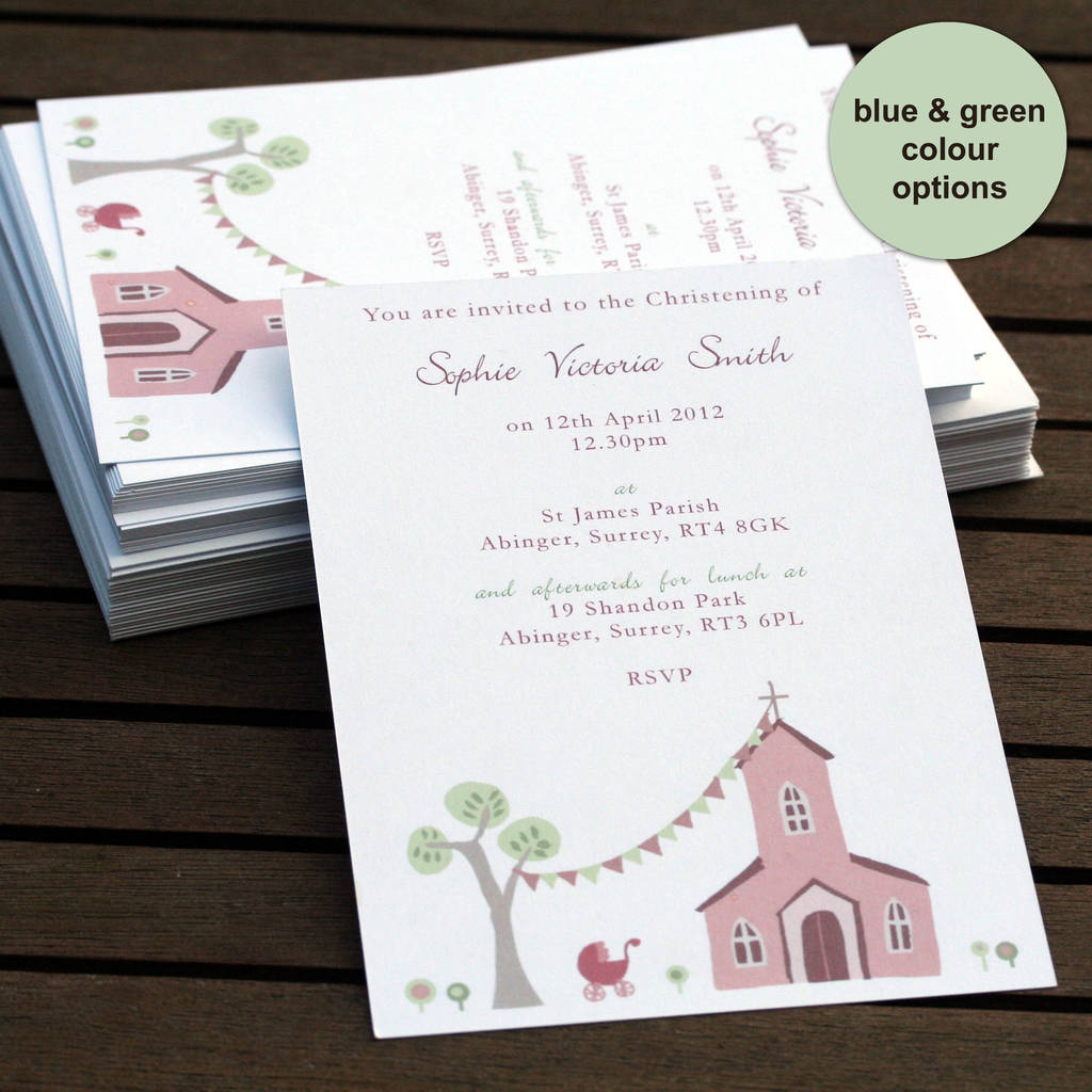 Personalised Christening Or Baptism Invitations By Molly Moo Designs