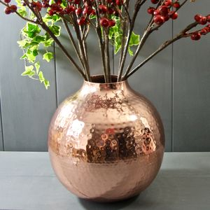 Round Dimpled Copper Vase - flowers, plants & vases