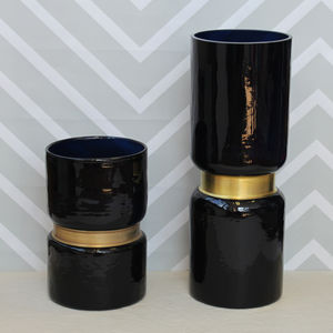 Dark Blue Vase With Gold Detail