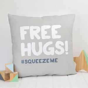 'Free Hugs' Faux Suede Cushion