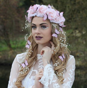 Pink Butterfly Crown - bridal hairpieces