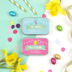 Personalised Easter Thank You Teacher Gift Tins - chocolates & confectionery