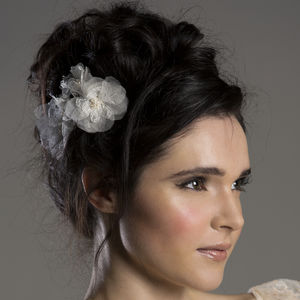 Aurora Lace Silk Flower Hair Comb - wedding fashion