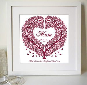 Personalised Mums Rose Tree Heart Print