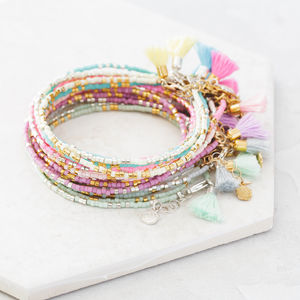 Personalised Ladies Morse Code Bead Wrap Bracelets