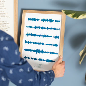 Personalised Favourite Song Soundwaves Sea Blue