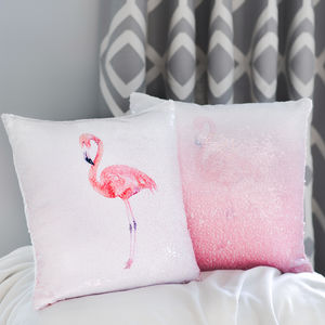 Sequin Reveal Flamingo Cushion - cushions