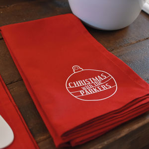 'Christmas With The…' Personalised Napkin - kitchen