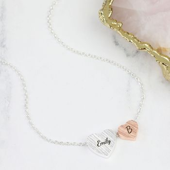 Personalised Mixed Metal Double Heart Necklace
