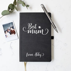Personalised Best Mum Black Soft Touch Notebook - whats new