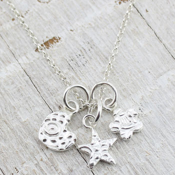 Personalised Three Charm Sterling Silver Necklace