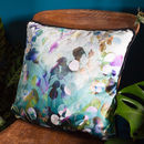 'Midnight Botanica' Floral Velvet Cushion