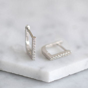 Sterling Silver Contemporary Pave Line Earrings