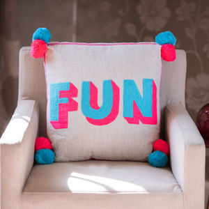 Pom Pom Embroidered Cushion - new in baby & child