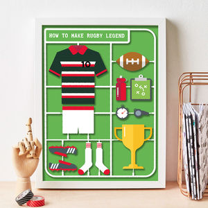 Personalised Airfix Rugby Print - gifts for teenagers