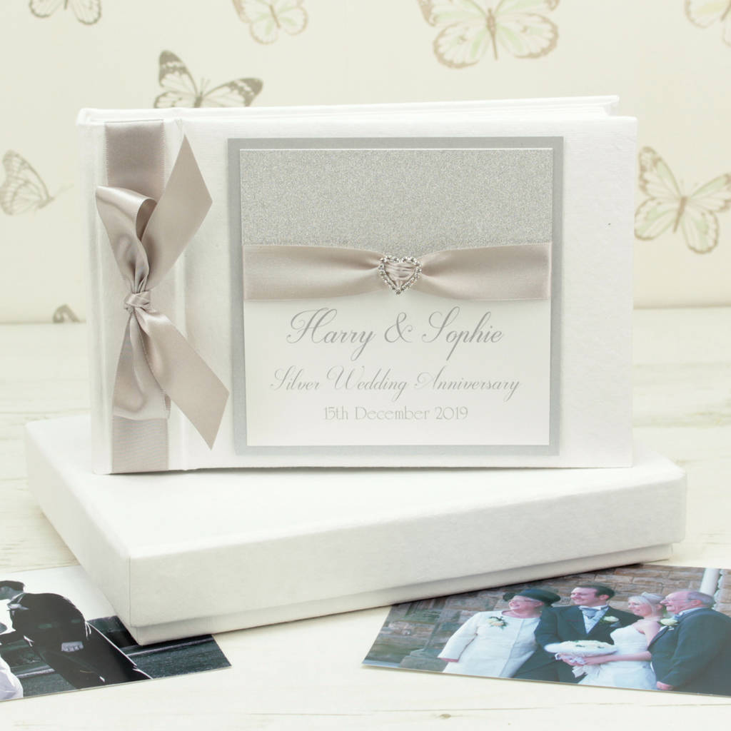 personalised silver wedding anniversary photo album by dreams to ...