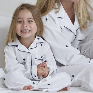 Personalised Girl's Embroidered Star Cotton Pyjamas - 'mummy and me' gifts