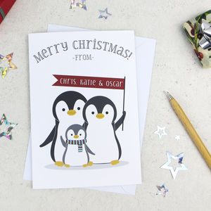 Penguin Family Of Three Personalised Christmas Card - new in christmas