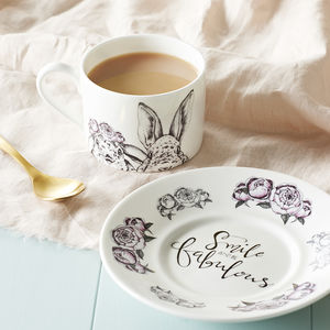 'Smile' Rabbit Couple Illustration Teacup And Saucer - kitchen