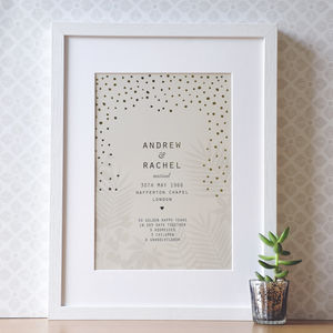 Personalised 50th Wedding Anniversary Gift With Gold - prints & art sale
