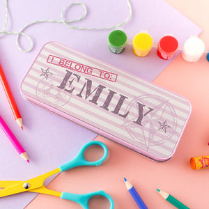 Children's 'I Belong To' Personalised Pencil Tin