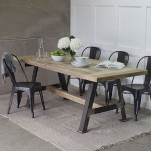 A Game Reclaimed Wood Dining Table With Steel A Frame - furniture