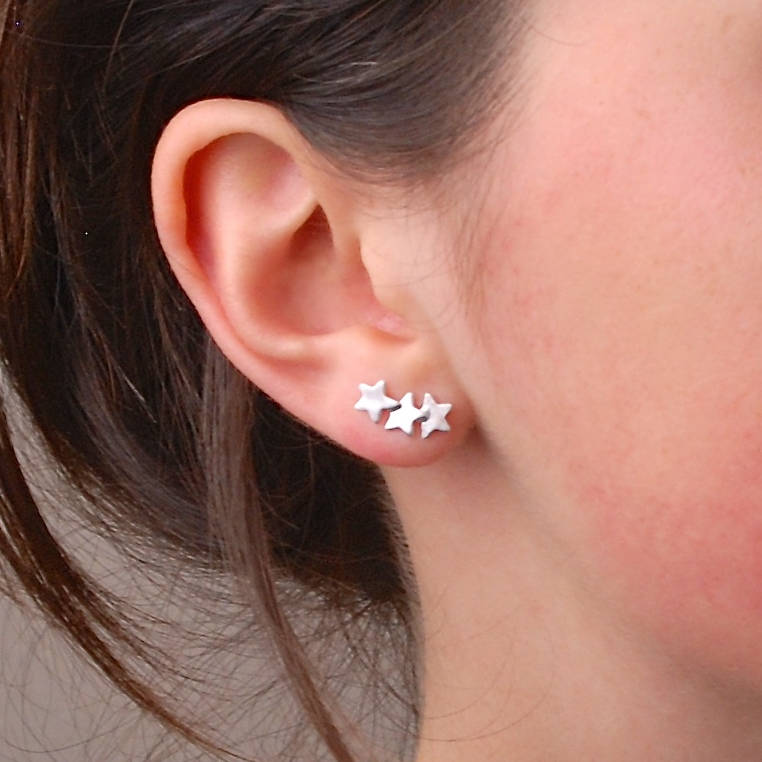 Sterling Silver Overling Stars Ear Climbers