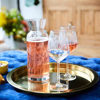 Floral Wine Glass And Carafe Set