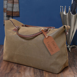 Personalised Suede Leather Effect Brown Travel Bag - holdalls & weekend bags