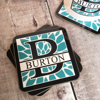 Four Personalised Dahlia Initial And Surname Coasters