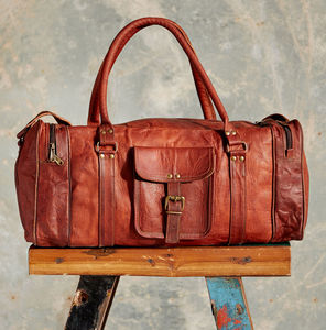 Large Brown Leather Holdall Zipped Pockets - luggage